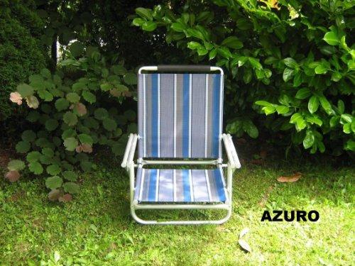 Chaises avec bretelles – Beach – Plage – Lot 3 – en aluminium – Stabielo Azuro ou bleu – env. 120 kg Charge env. 2,8 kg – 4 Compartiment 62 cm Dossier haut réglable – aussi disponible en supplément comme Holly – Sun Set de avec abat-jour compartiments Bleu/Jaune/Rouge/Gris Argenté et de Holly 360 ° universalgelenkh vieillissement® – Holly produits Stabielo® – Innovations fabriqué en Allemagne – Prix seulement de – Holly-Sunshade®