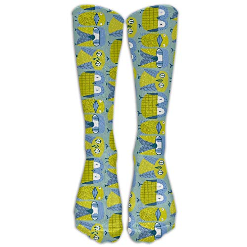 Nifdhkw Green Cute Bird Outdoor Athletic SockNovelty Calf High Running Long Sock Unisex