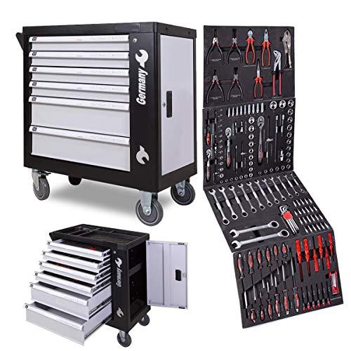 Powerline Werkstattwagen gefüllt 269-teilig Werkzeug Werkstatt Werkzeugschränke / 6 Schubladen - 4...