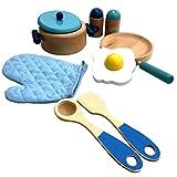 TikTakToo Holz Kochset für Kinder Pfanne Kochtopf Kinderküche Kaufladen (blau~hellblau~Natur)