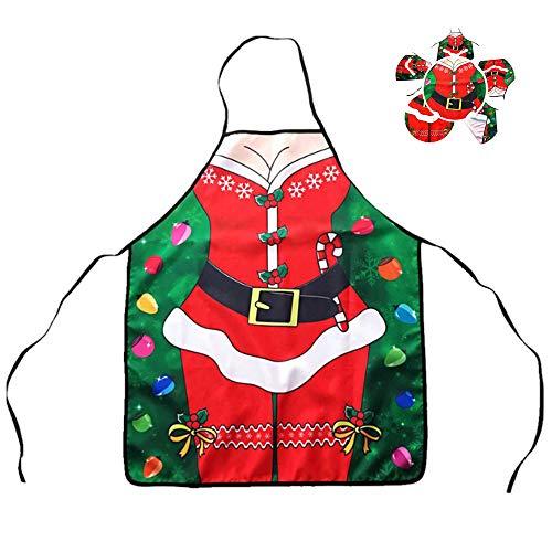 CLDGF Weihnachtsmädchen Schürze, lustige Anzug Schürze, Santa Suit Design, Neuheit Weihnachtsdekoration Geschenk Rot (60cm * 72cm)