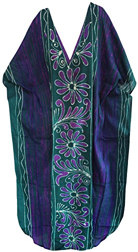 La Leela lâche 100% coton beachwear à long kimono caftan casual nightwear robe des femmes Violet