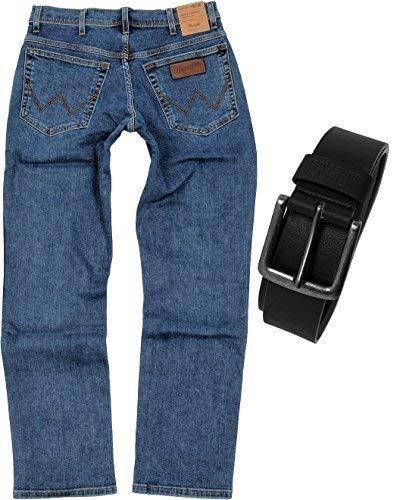 Wrangler TEXAS STRETCH Herren Jeans Regular Fit inkl. Gürtel (W33/L34, Stonewash)