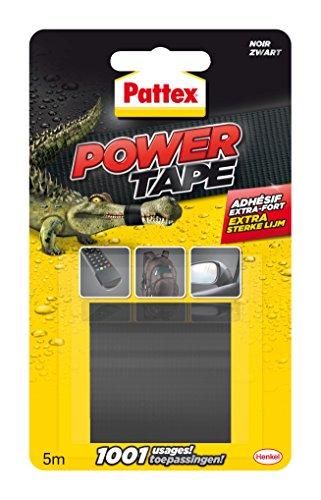Pattex Power Tape, Ruban adhésif extra fort pour charges lourdes, Bande adhésive toilée tous supports, Rouleau adhésif étanche de 48 mm x 5 m, noir
