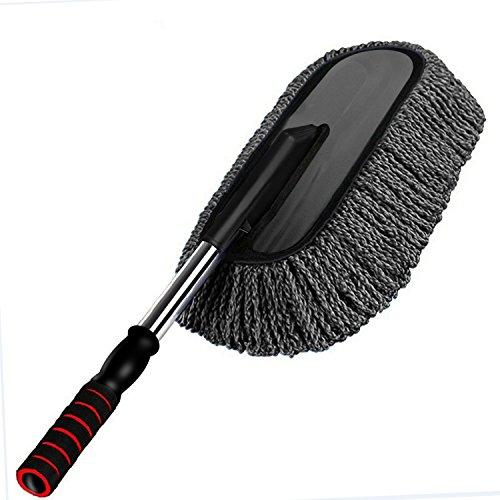Mopa de lavado de coche, suave microfibra, BeGreat fregona de limpieza, cepillo para polvo, con mango telescópico y extraíble - gris