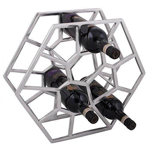 FineBuy Design Weinregal für 12 Flaschen Aluminium Silber
