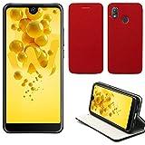 XEPTIO Wiko View 2 Hülle Tasche Leder Rot Cover mit Stand - Zubehör Etui View2 Dual Sim Flip Case Schutzhülle Smartphone 2018 (PU Leder, Handytasche Red) Accessories