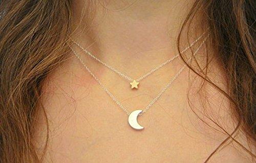 Honeysuck beautylife catenina doppia con ciondolo stella e luna, moda semplice da donna, collana per party