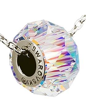 Damen-Charm Kette Silber runder Anhänger Glas-Bead bunter Kristall von Swarovski ® - Halskette 52 cm (Aurore Boreale)