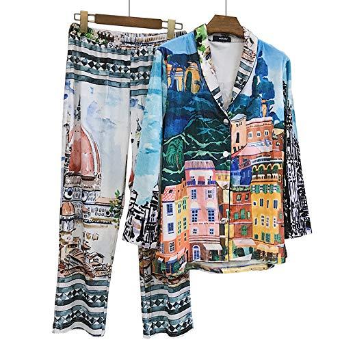 Mmllse Frühlings-Männerschlafanzug Neues Print-Set, Blau, Einheitsgröße