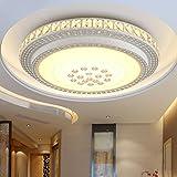 SZYSD 40W LED Deckenleuchte Kristall Wohnzimmer Flurleuchte Rund Lampe (Warmweiß ohne Fernbedienung)
