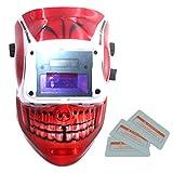 Sharplace Solare Autoscurante Casco Da Saldatura Maschera Da Saldatore Filtro Auto-oscurabile Lenti Di Protezione - teschio Rosso, come descritto