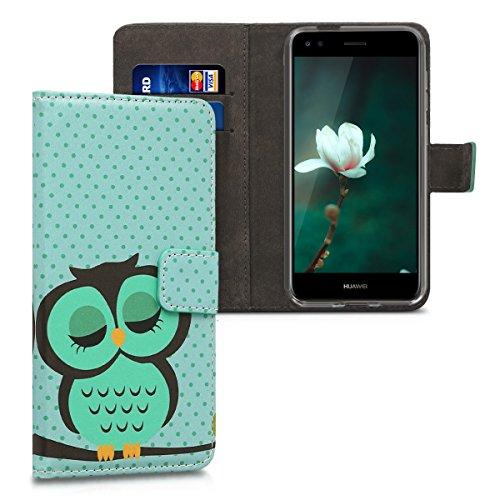 kwmobile Hülle kompatibel mit Huawei Y6 Pro (2017) / Enjoy 7 - Kunstleder Wallet Case mit Kartenfächern Stand in Türkis Braun Mintgrün