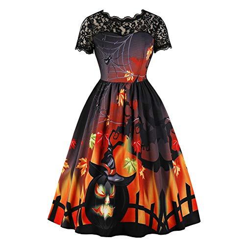 Martialart adulti abito da strega, halloween vestiti per donne stampato vestiti costumi da donna, maniche corte, pizzo cuciture vintage vestito zucca spaventoso male evening party teir