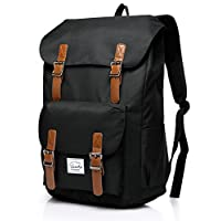 VASCHY Backpack for Men Casual Lightweight Backpack Camping Rucksack 15.6 Inch Laptop Backpack Teen Backpack-Black