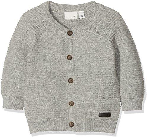 NAME IT Baby-Jungen Sweatjacke NBMLADO LS Knit Card, Grau (Grey Melange), 74