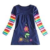 Mädchen kleid, Honestyi Herbst Winter niedlich Baby Mädchen Blume Drucken Stickerei Prinzessin Kleid (Marine, 4T/120CM) -