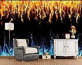 YUANLINGWEI Benutzerdefinierte Größe Wasser Textur Schwarzer Hintergrund Flamme Wandbild Wohnzimmer Tv Sofa Wandtapete