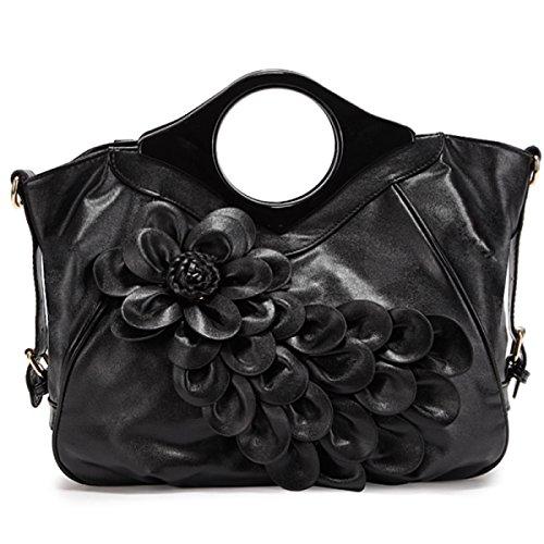 QPALZM QPALZM Frau Handtasche Freizeit Messenger Bag Mode Blume Reißverschlüsse Geschlossen Multifunktions Black