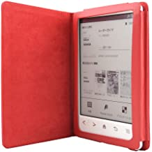 Magnético Cierre Cuero Funda de Piel Modo de Suspensión Para eReader Sony PRS-T3, Color Rojo