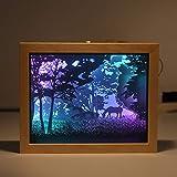 Kumiy 3D Dekorpapier Carving LED Nachtlicht, Paper Cut Shadow Light Box, dekorative Lampe auf dem Schreibtisch, mit USB-Kabel