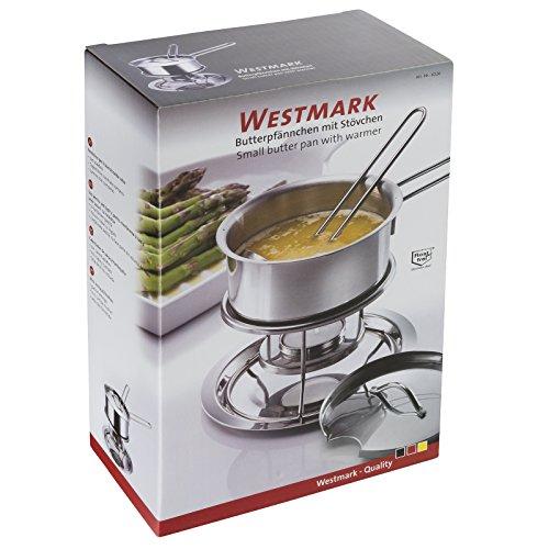Westmark Butterpfännchen/Soßenwärmer, Mit Deckel, Soßenlöffel und Stövchen, Füllvolumen: 300 ml, Rostfreier Edelstahl, Silber, 62262260