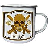 Nuevo Tatuaje Estudio Cráneo Retro, lata, taza del esmalte 10oz/280ml l881e