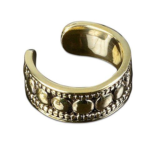 viva-adorno® 1 Stück Ear Cuff Ohrklemme Ohr Clip Ohr Bügel Ohrring Messing Vintage Antik Bali Z494, D6 (Gold Ohrringe Aus Indien)