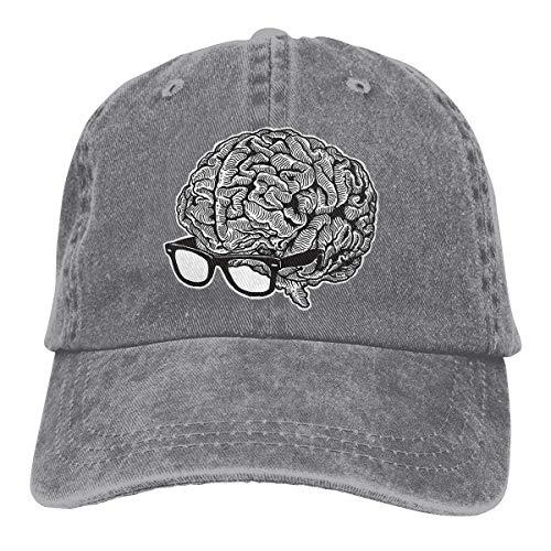 Cowboy Hat Brain with Glasses Denim Skull Cap Baseball Cowgirl Sport Hats for Men Women