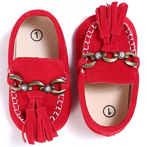 kingko® Weiche und bequeme Baby Kleinkind nette Krippe Schuh Beleg auf Komfort Schuhen Müßiggänger weiche Vorwalker Antibeleg Schuhe Red