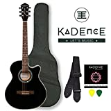 #2: Kadence Frontier Series,Black Acoustic Guitar With EQ Combo (Bag,Strap,Strings And 3 Picks)