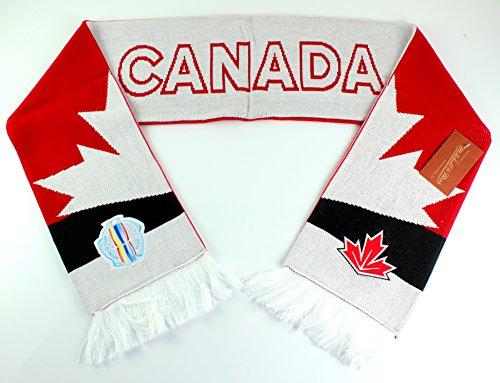 Mitchell & Ness World Cup of Hockey Team Country Strick Schal, Mädchen Damen Jungen Unisex Herren, Rot, Einheitsgröße (Kanada-hockey-puck)