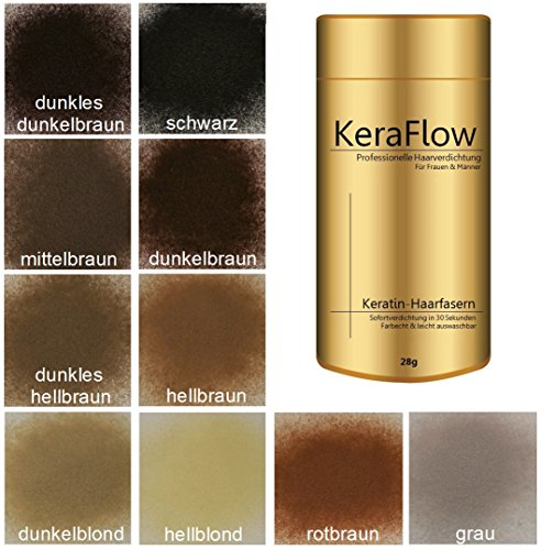 KERAFLOW Schütthaar Streuhaar in dunkelbraun -28g- Professionelle Haarverdichtung bei Haarausfall, lichte dünne Haare, Haaransatz abdecken, mehr Volumen, Professional Hair Fibers in dunkel-braun