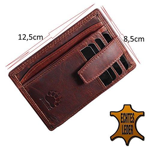 Pranke ECHT Leder Geldbörse / Geldbeutel Herren Portemonnaie Klein Tasche Geldtasche Querformat Vintage Braun Antik Braun