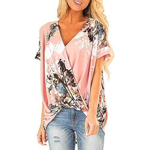 BASACA Damen Bluse Sommer Frauen Large Size V-Neck Strap Besticktes Kurzarm Top Loses Lässiges Mode Farbverlauf Print Button Tie Shirt (XXL, Pink) -