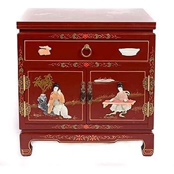 Fine Asianliving Table de Chevet Chinois Meubles Petite Table de Nuit Rouge avec  tiroir Yangzhou Gu-shi Oriental Asiatique Salon Chambre à Coucher Meubles  ... b72d68433c0e