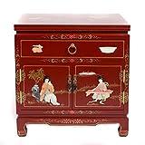 Fine Asianliving Nachttisch Chinese Furniture Kleiner Nachttisch Rot mit Schublade yangzhou gu-Shi Oriental Asiatischen Wohnzimmer Schlafzimmer Möbel-Decor Schränke nachttischmöbeln