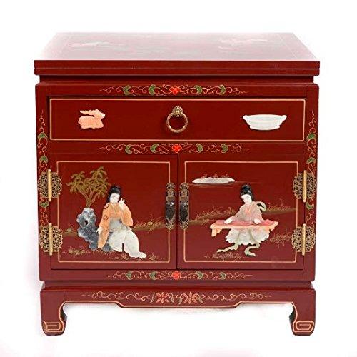 Fine Asianliving Nachttisch Chinese Furniture Kleiner Nachttisch rot mit Schublade yangzhou gu-shi Oriental asiatischen Wohnzimmer Schlafzimmer Möbel-Decor Schränke nachttischmöbeln -