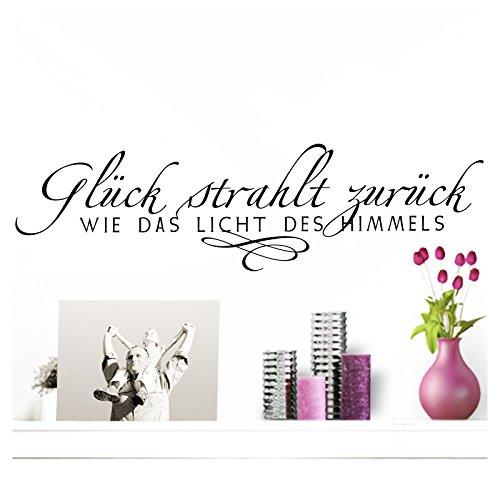Wandaro W3306 Wandtattoo Spruch Glück Strahlt zurück I Schwarz 85 x 23 cm I Flur Diele Wohnzimmer Selbstklebend Aufkleber Wandaufkleber Wandsticker