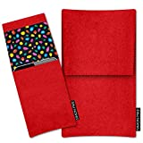 SIMON PIKE HUAWEI Ascend P7 Filztasche NewYork in rot 13, handgefertigte Smartphone Filz Tasche aus echtem Wollfilz