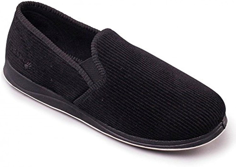 Padders Corte Ancho Zapatillas Para el hogar (Albert) Negro Cable EN Talla UK6 to Uk13 -