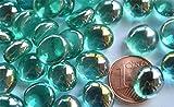 70g Mini Glasnuggets 10-12mm türkis-grün irisierend transparent ca. 50 St.