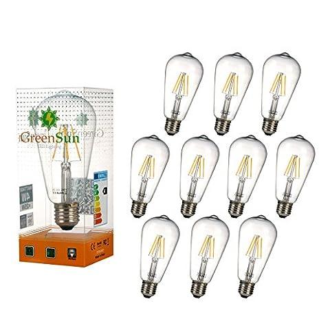 GreenSun 10 Stück LED 4W Dimmbar ST64 Kerze Glühfaden Kerzenlampe Filament Lampe 2700K Warmweiß E27 Fassung 330°Abstrahlwinkel 220V