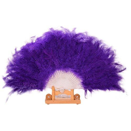 Kostüm Würfel Flauschige - Sllowwa Klappfächer Mädchen Feder Fächer Vintage Handfächer 1920s Great Mädchen Fasching Kostüm Accessoires Zubehör