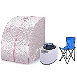 Portable Steam Sauna Personal Spa Body Heater Detoxify Losing Weight Mobile Home Room 98 x 70 x 80 cm 1.8L 3 Colour (Silver)
