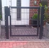 Hochwertiges Gartentor Hoftor / Tor-Einbau-Breite: 125 cm / Tor-Einbau-Höhe: 103 cm / Inklusive 2 Pfosten (60mm x 60mm) / Grau beschichtet / Mattentor Pforte