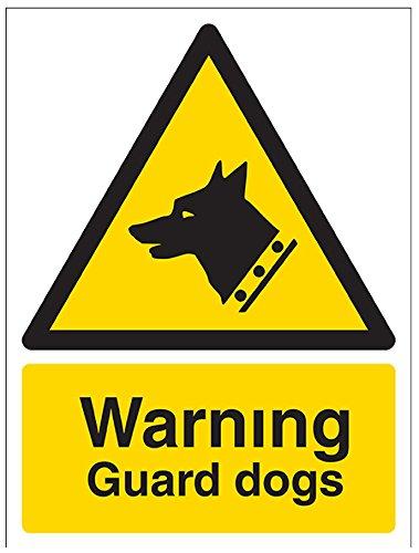 vsafety 6e014an-s Achtung Guard Hunde Sicherheit Zeichen, selbstklebendes Vinyl, Hochformat, 150mm x 200mm x 200mm, schwarz/gelb