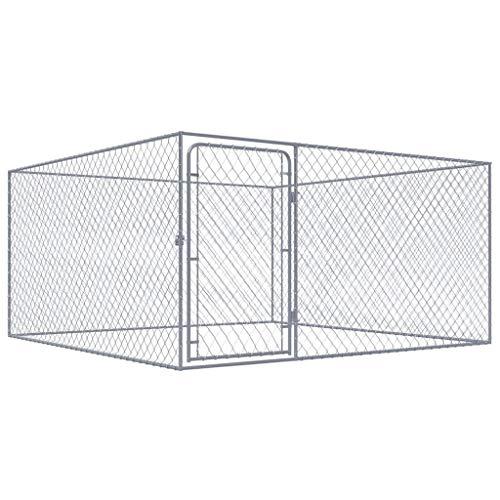 vidaXL Recinto per Cani da Esterno Acciaio Zincato 2x2 m Recinzione Box Canile