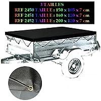 Peraline 2452 Bache de Remorque Plate Polyester/PVC, Noir, 200 x 120 x 7 cm