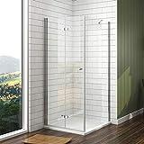 EMKE 100 x 90 cm Klappbar Duschkabine Duschabtrennung 6mm ESG Glas Falttür Duschtür mit Seitenwand + Duschwanne
